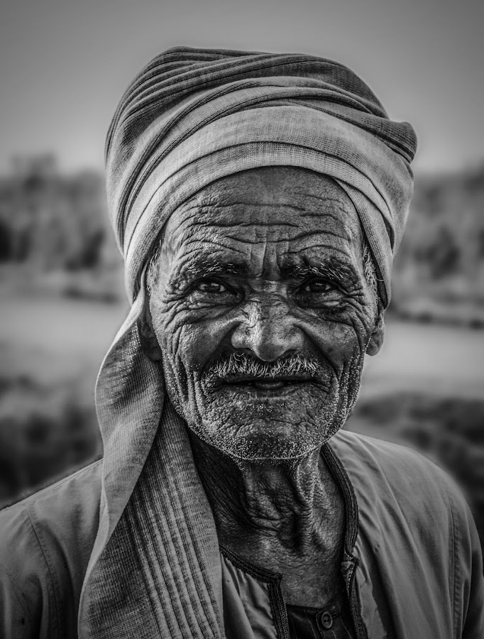Faces tell story of decades by Mohammad Alaa - Black & White Portraits & People ( countryside, face, old, farmer, man, portrait, egypt )
