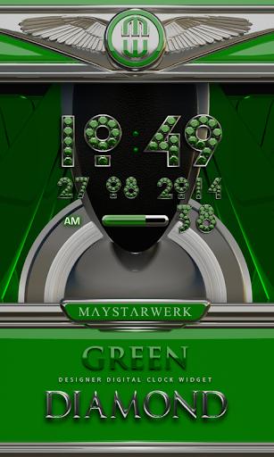 Digi Clock Widget Green Diamon