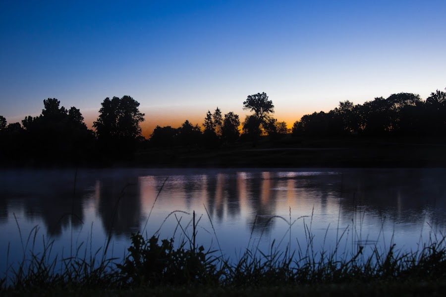 Hazard Sunrise by Anthony Stark - Novices Only Landscapes ( water, water hazard, golf course, anthony stark, novice, pioneers park, sunrise, digital photography, pond, hazard sunrise, pioneers golf course, photography )