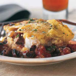 Polenta Casserole with Mushrooms, Tomatoes, and Ricotta