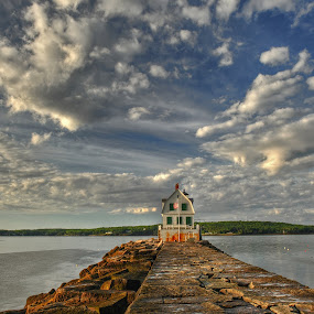 At the End of the World - State of Maine by Ivan Anchev - Landscapes Waterscapes ( samoset resort; state of maine; waterscape; clouds; house in the water )
