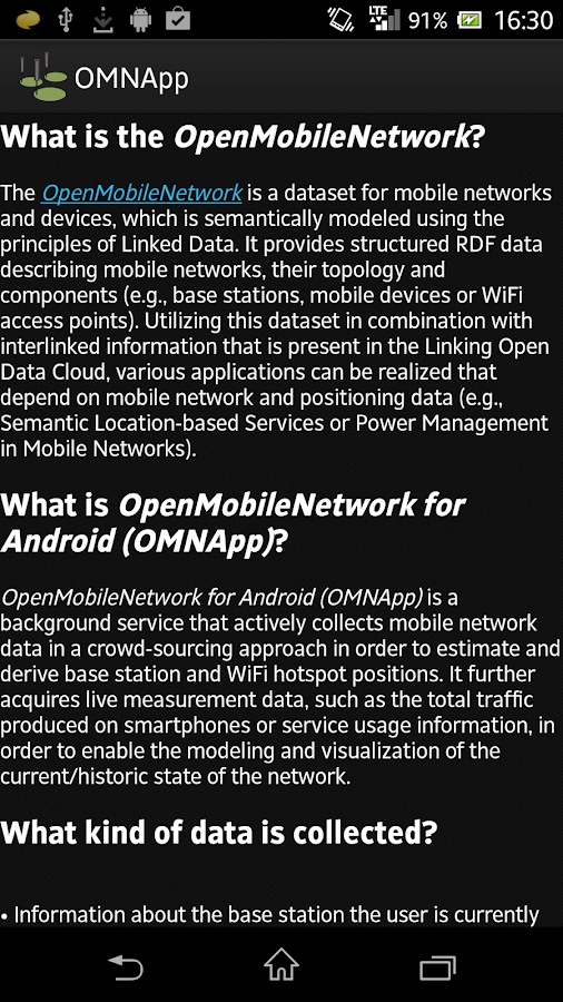 OpenMobileNetwork for Android - screenshot