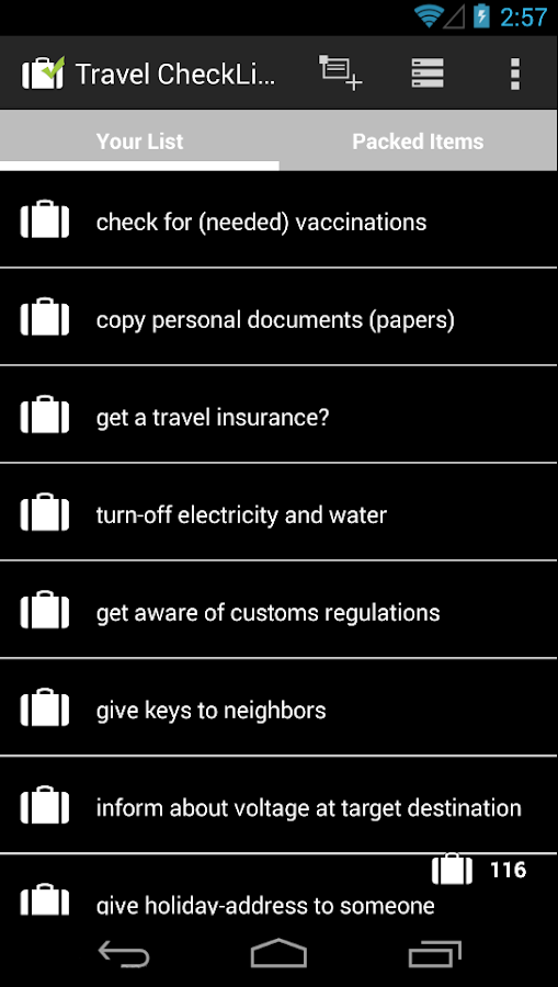 Travel CheckList- screenshot