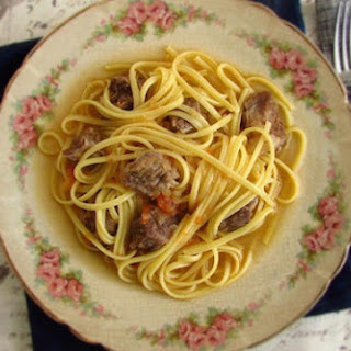Stewed Meat With Spaghetti.
