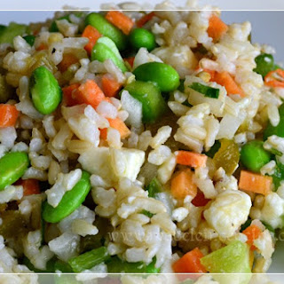 Rice Salad with Vegetables and Feta Cheese.