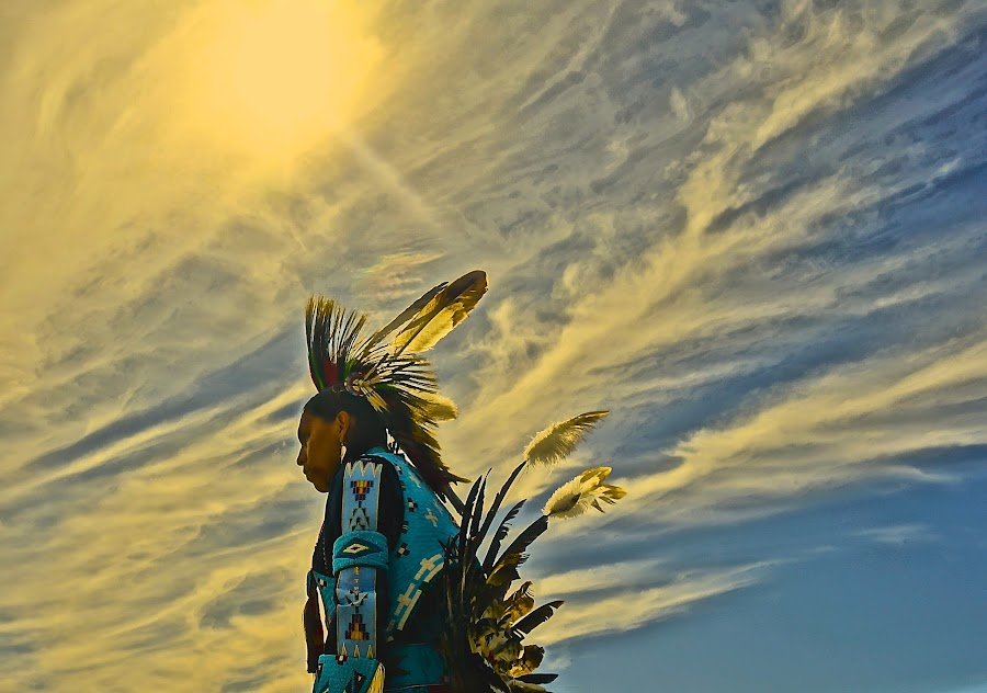 Pow Wow Warrior by Barbara Brock - People Street & Candids ( pow wow; american indian; native american; feathers; sky,  )