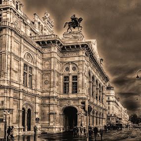 Vienna Opera Before The Great Rain by Horst Winkler - Buildings & Architecture Public & Historical ( wien, vienna, gewitter, oper, opera, regen, unwetter, rain,  )