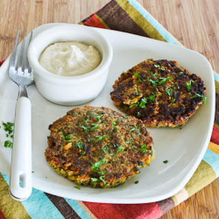 Chickpea and Brown Rice Patties with Parsley, Mint, and Yogurt-Tahini Sauce.