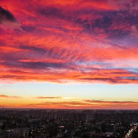 Bucharest twilight hour by Matei Edu - City,  Street & Park  Skylines ( skyline, bucharest, sunset, twilight, romania, city,  )