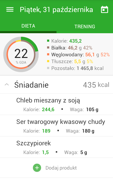 Dieta i trening- screenshot