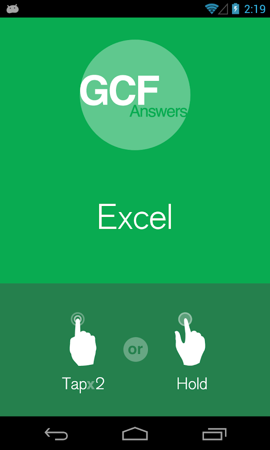 GCF Answers for Excel - screenshot