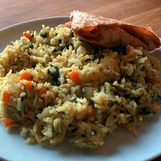 Spinach and Carrot Pilau.