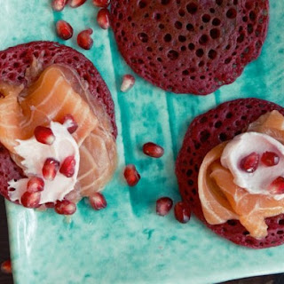 Beet Blinis with Salmon Marinated in Star Anise Syrup from 'Home Made Winter'