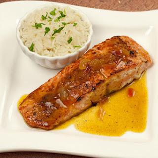 Pan-Seared Salmon With Orange-Curry Sauce.