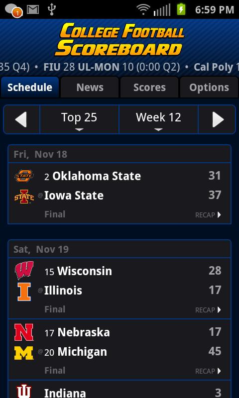 College Football Scoreboard + - screenshot