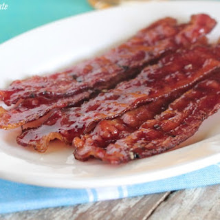 Candied Raspberry Baked Bacon.