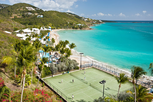 Morning-Star-tennis-St-Thomas-USVI - Tennis courts are beachside at the Morning Star Resort on St. Thomas, US Virgin Islands.
