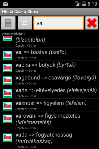 Dictionary Czech Hungarian