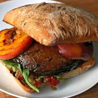Grilled Portobello and Peach Sandwich.