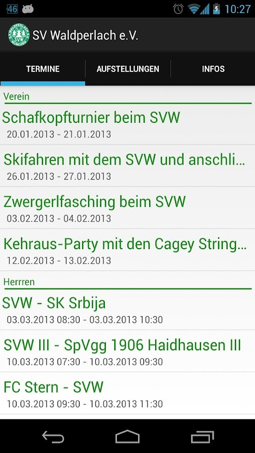 SV Waldperlach App- screenshot