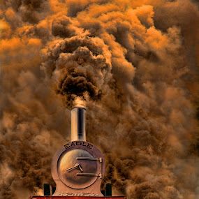 Smokey by Agha Ahmed - Transportation Trains ( eagle, railway, engine, steam train, locomotive, railroad, train, smoke, steam )