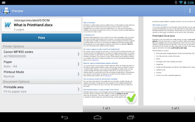 PrintHand Mobile Print Screenshot