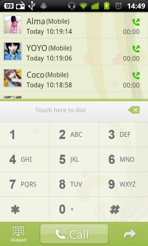 GO Contacts Green theme - screenshot