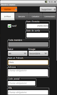 Association gestion Capture d'écran