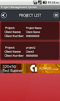 Screenshot of Project Management System