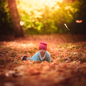 In the autumn garden by Niklas Jumlin - Babies & Children Child Portraits ( explore, babygirl, manualfocus, moment, children, uppsala, leaf, leaves, exploring, child, autumnleaves, leafs, autumn, lifestyle, beforedark, baby, childhood, crawling, sweden, orange, candid, kids, moments, wonders, magic, discovering, red, tuva, sonya7, discovery,  )