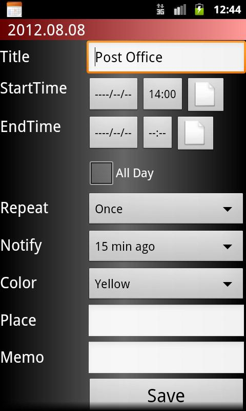 Scheduler - screenshot