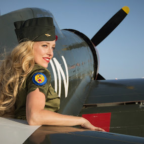 by Christopher Payne - People Portraits of Women ( model, wwii, airplane, prop, un, usa, war, propellar, flight, blonde, plane, pilot, fighter, world,  )