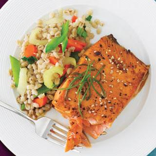 Honey and Sesame-Glazed Salmon with Confetti Barley Salad.
