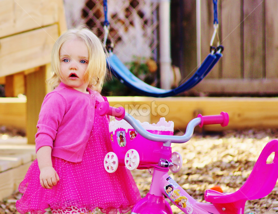 I'm Gonna Ride My Bike by Cheryl Korotky - Babies & Children Children Candids ( child, model, blonde hair, a heartbeat in time photography, amazing faces, blue eyes, beautiful children, peyton, pink girlie dresses,  )