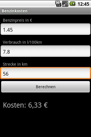 Benzinkostenrechner - screenshot