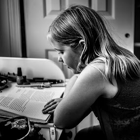 Reading Homework by Nicole Mitchell - Black & White Portraits & People ( reading, girl, 5th grade, light, bedroom )