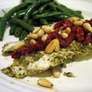 Pesto Chicken with Sun Dried Tomatoes and Pine Nuts.