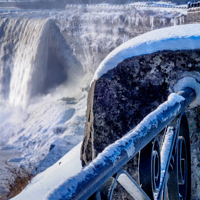 Power of Nature by Donna Brittain - Landscapes Waterscapes ( railing, waterfalls, canada, waterscape, ontario, cityscape, landscape, winter, nature, niagara falls, january, snow, niagara river )
