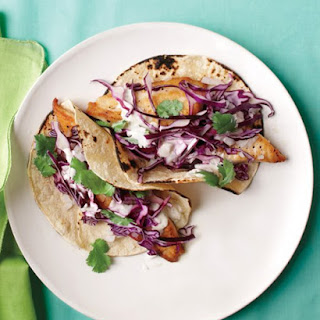 Fish Tacos with Cabbage and Lime.