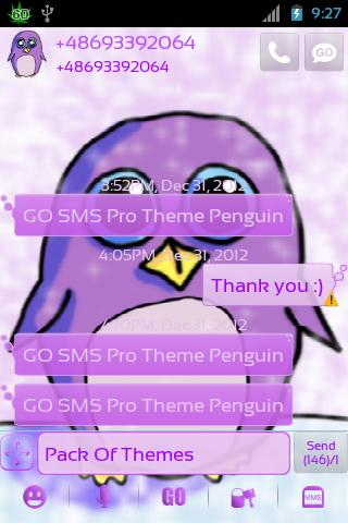 Theme Penguin for GO SMS Pro- screenshot