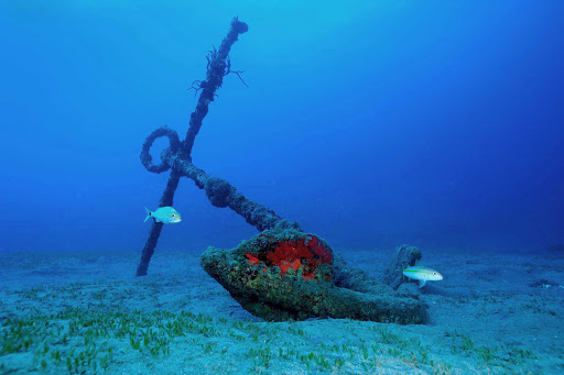 A remnant from a shipwreck off the coast of St. Eustatius.