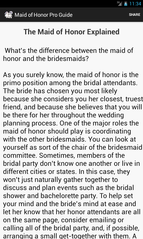Maid Of Honor Pro Guide