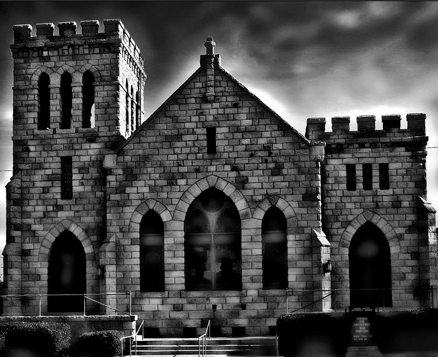 Old Stone Church by Rhonda Musgrove - Buildings & Architecture Places of Worship ( sky, church, white, bell tower, stone, black )