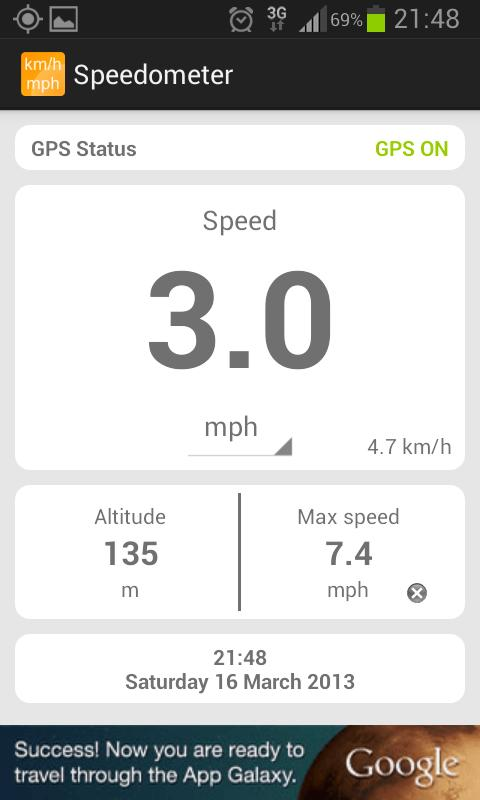 Simple speedometer km/h - mph- screenshot