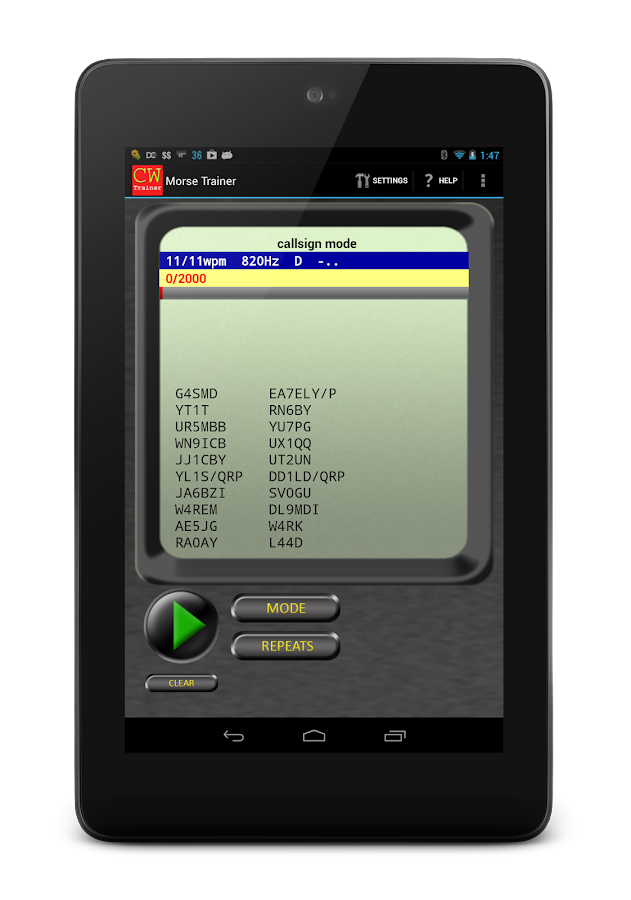 Morse Trainer for Ham Radio – Screenshot