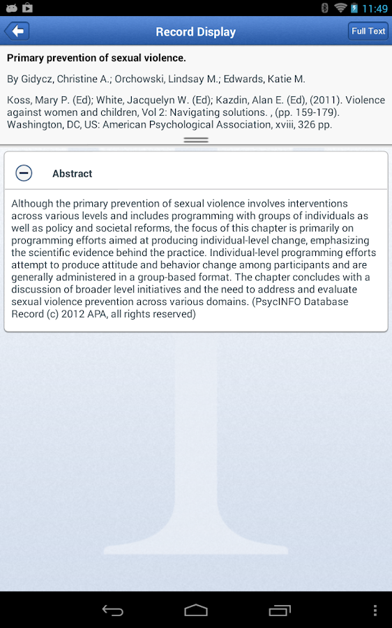 APA PsycNET Mobile- screenshot