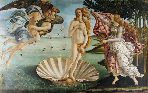 "Birth-of-Venus-Botticelli-Florence - ""Birth of Venus"" (1484–1486), painting by Sandro Botticelli at the Uffizi Gallery in Florence, Italy."