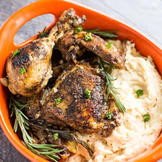 Crockpot Rosemary Balsamic Chicken + White Cheddar Mashed Potatoes
