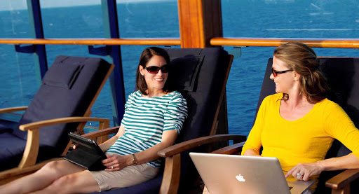 Azamara-laptops-mobile - Azamara lets you try new technology while you relax on deck.