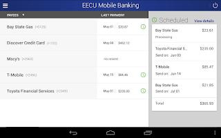 Screenshot of EECU Mobile Banking